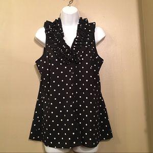 Spense B/W polka dot blouse with ruffled neckline